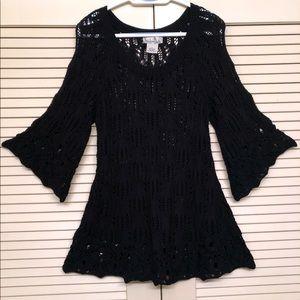 Nouveaux Black Crotchet mid sleeve sweater  Sz XL